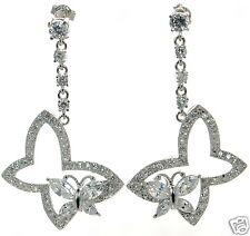 Double Butterfly Dangle Earrings ' Solid 925 Sterling Silver Clear Cz