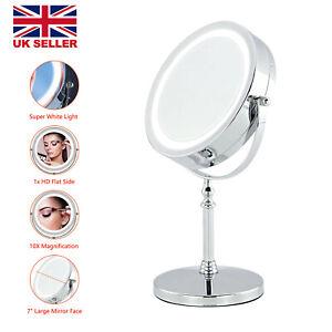 "7"" Magnifying Mirror with LED Lights for Make Up Shaving Vanity Illuminated UK"