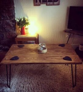 Industrial Retro Coffee Table Reclaimed Rustic wood Hairpin Legs, Made To Order!