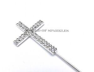 Diamante Silver Cross Holy Communion Christening Cake Topper 2 row D4