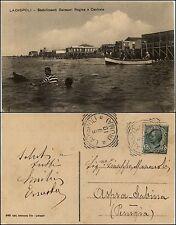 Ladispoli, Roma, stabilimenti balneari Regina e Centrale, animata viaggiata 1910