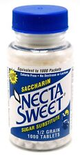 12 1000-Tablet Bottles 1/2 Grain Necta Sweet Saccharin Tablets NectaSweet