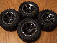 Traxxas RUSTLER 4X4 VXL Talon Extreme Tires &RXT Black Chrome Wheels 2.8 67076-4