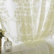 French Embroidery Crochet Net Curtain Lace Tulle Voile Panel Drape Divider White