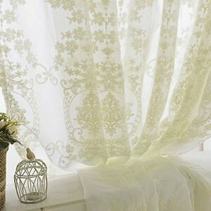 Embroidery Curtain Fabric Crochet Net Lace Tulle Voile Panel Drape Divider White