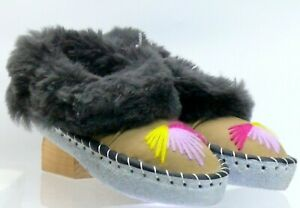 LADIES  SHEEPSKIN SLIPPERS NATURAL-LEATHER-HAND-MAD DEFECTED
