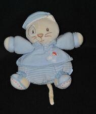 Peluche doudou chat beige boule KALOO bleu rayé marin bonnet 20 cm TTBE