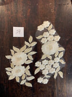 Cream and Antique Gold Floral Embroidered Tulle  Appliqué Lace Pieces Sew On 27