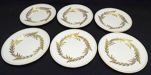 "Minton England Malta 6 Bread Plates Gold 6 1/4"" -Bone China"