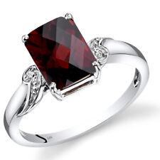14K White Gold Garnet Diamond Ring Radiant Cut 2.75 Carats Size 7