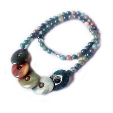 Mom's Jewelry Gift Natural Multi India Rainbow Agate Gemstone Charming Necklace