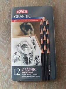 Derwent 34215 Graphic Drawing Pencil - Tin of 12
