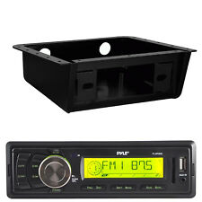 99-9000 Metra Universal Underdash Housing Set ,Pyle AM FM AUX Marine Black Radio