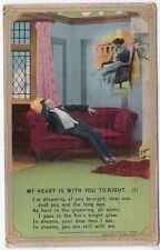 BAMFORTH SONG CARD #4715/1 - My Heart Is With You Tonight - 1913 used postcard