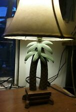 Palm Tree Table Lamp Tan Leather Shade 120 V  16 inch Tall