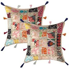 Indian Cotton Bohemian Cowrie 43 x 43 Embroidered Patchwork Throw Pillow Covers