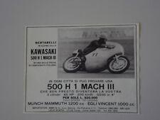 advertising Pubblicità 1970 MOTO KAWASAKI 500 MACH 3 III H1 e BERTARELLI