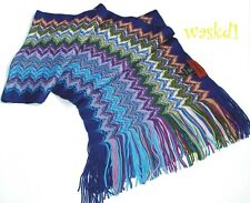 MISSONI cyan SHARKTOOTH wool/acrylic Blend long FRINGED scarf IN BOX Authentic!