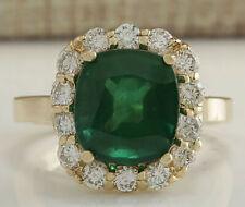 5.00 Carat Natural Emerald and Diamond 18K Yellow Gold Engagement Ring