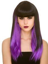 Dark Fantasy Black Purple Fringe Wig Witch Vampire Halloween Fancy Dress New