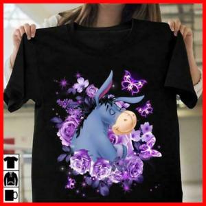 Eeyore Donkey Purple Flower Ladies T Shirt S-3XL 100% Cotton Black