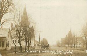 IN Indiana Farmland East Henry Street RPPC 1911 Real Photo Postcard