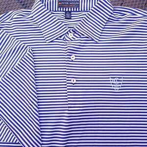 Peter Millar Summer Comfort Golf Polo Shirt Mens XL Striped Blue CCC Logo