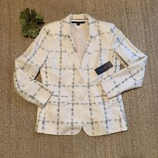 Tommy Hilfiger Womens Size 8 Linen Career Navy Ivory...