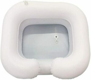 Inflatable Hair Washing Basin Portable Bedside Shower Handicapped Bed Bath White