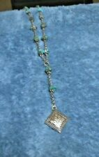 Napier silver colored chain with turquoise looking stone necklace