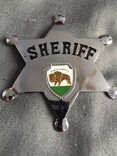 Vintage Made In Japan Silver Metal Sheriff Badge Star North Dakota Bison Inset