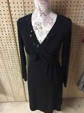 Two Hearts Maternity Women's Black Sequin Embellished Dress S