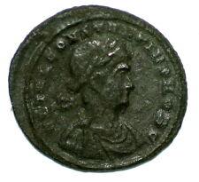 ROMAN BRONZE COIN FOLLIS (NUMMUS) CONSTANTIUS GLORIA EXERCITVS CONSTANTINOPOLIS