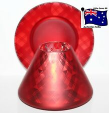VILLAGE CANDLE ** Flickering Red Plaid  ** LARGE SHADE & PLATE For Large Jars