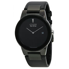 Citizen Eco Drive Axiom Black Dial Black Leather Mens Watch AU1065-07E