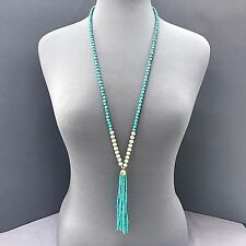 Boho  Blue Green  Wooden Bead with Turquoise Beaded Tassel Pendant Necklace