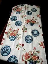 """Vtg Blue Delft ware floral linen mix pinks reds fabric beautiful 3 yards 45"""" NEW"""
