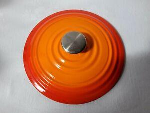 Round Volcanic Orange Le Creuset Style No.22 Cast Iron Casserole Stockpot Lid