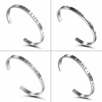 Fashion Stainless Steel Silver Letter Cuff Bangle Bracelet Gift Women Jewelry