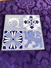 LOVELY STYLISH ANTIQUE QUARTERED ARTS   CRAFTS TILE FEATURING SEAHORSE  LION  2