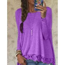 Women's Long Sleeve Shirt Casual Lace Blouse Loose Cotton Tops T Shirt