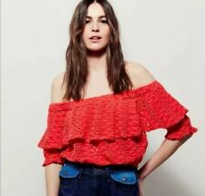 FREE PEOPLE That Girl Off the Shoulder Ruffle Eyelet Crop Top Size S ORANGE