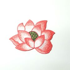 Pink & White Lotus Flower Patch, Sew-On Embroidered Motif Applique, Yoga Boho