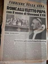 IL NUOVO CORRIERE DELLA SERA 29 ottobre 1958 Roncalli Papa Giovanni XXIII di e
