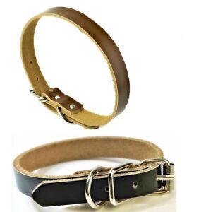 Small Medium Large Dog Adjustable Collar Real Leather flat Pet Collars 30-61cm