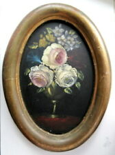 Small Old Vintage Pink Floral Roses Framed Oval STILL LIFE OIL PAINTING