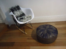 Beautiful Leather Ottoman for use as Coffee Table or Pouf or Pouffe - Purple