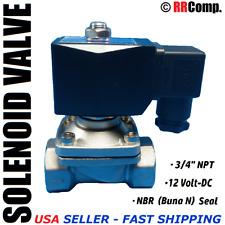 "3/4"" NPT 12-VOLT DC, SS Electric Solenoid Valve, Seal NBR: Air, Water, Oil N/C"