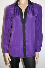 BASQUE Brand Purple Black Chiffon Long Sleeve Shirt Top Size 8 BNWT #SF120