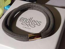 Endless Jewelry 40cm Grey Bracelet Double Strand Rose Clasp rrp £50